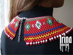 Ukrainian seed bead necklace kryza Lemko krywulka Traditional | Etsy Seed Bead Necklace, Multi Strand Necklace, Seed Beads, Beaded Earrings, Beaded Jewelry, Beaded Collar, Minimalist Earrings, Tribal Jewelry, Czech Glass Beads