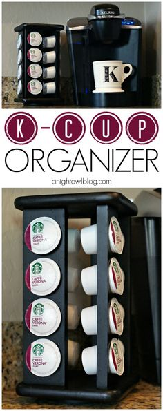 Grab an old spice rack and upcycle it into this fabulous DIY Keurig K-Cup Organizer! K-Cups fit perfectly!