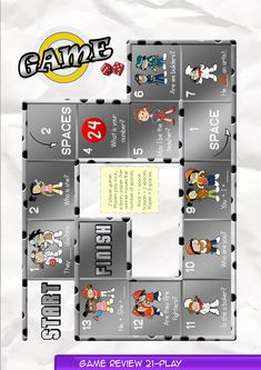 Game Board 21  Contents-Game Review booklet and theme flashcards.  Contains Everyday English, game review, grammar summary and worksheets.  Everyday English: What is your number, Bella? It's on my t-shirt. I can't read it. It's too small. It is twenty seven.  Theme: Jobs an artist, doctors, a builder, a baker, firefighters, hairdressers, a police officer, a baseball player.    Grammar: Subject Pronouns 2  I am a builder. I am not a firefighter.  Who are they?  Is she a baseball player?