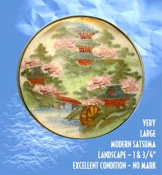 Button--Very Large Modern Satsuma Pottery Landscape with Waterwheel & Houses