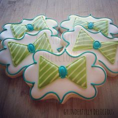 Bow-tie baby shower decorated cookies by Grunderfully Delicious
