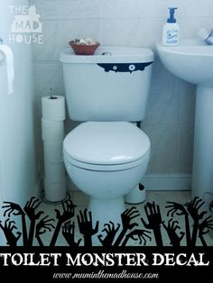 Toilet Monster for Halloween free decal.  Celebrate Halloween with this super fun and not too scarey (perfect for kids) toilet monster