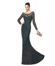 Uzun kollu siyah Nelda kokteyl elbisesi - Pronovias 2015