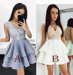 New Arrival Prom Gown,A-Line Sleeveless Homecoming Dress,Party Dresses,V-Neck Short Homecoming/Prom Dress with Appliques,Graduation Dress,simibridaldresses