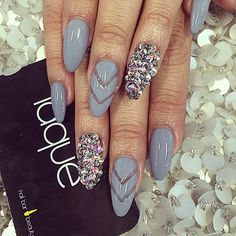 Love these nails, minus all the rhinestones.