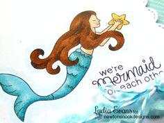 Mermaid card by Lydia Evans   Mermaid Crossing Stamp Set by Newton's Nook Designs #mermaid #newtonsnook
