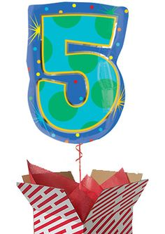 Confetti Dots Number 5 Balloon - Helium Filled