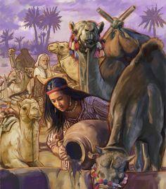 Rebeca dando de beber a los camellos
