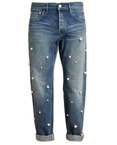 { pearl-embellished boyfriend jeans }