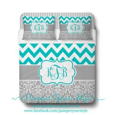 Custom Designed Damask and Chevron-Teal and Gray Bedding, Duvet or Comforter, Personalized, Create and Design Your Own Bedding