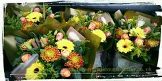 Autumnal aqua packed bouquets by The Flower Studio Manchester www.flowerstudiomanchester.co.uk