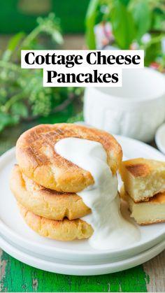 Breakfast Bites, What's For Breakfast, Brunch Recipes, Breakfast Recipes, Dessert Recipes, Cheese Recipes, Cooking Recipes, Cottage Cheese Pancakes, Delicious Desserts