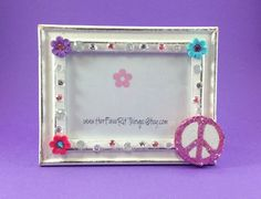 Peace Sign Picture Frame Glitter Peace Sign by HerFaveRitThings
