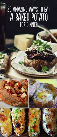 23 Amazing Ways To Eat A Baked Potato For Dinner or a great bar idea for a party or celebration.