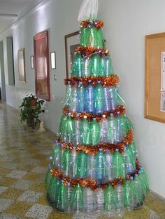 Christmas Decorations Made Out Of Plastic Bottles Ecogreen Bottle Trees To Collect Quarters For Charities