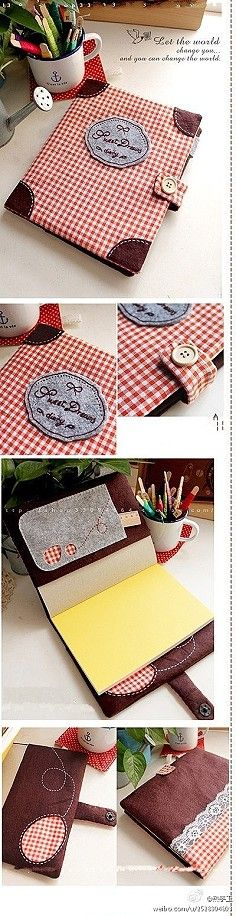 fabric covered book front