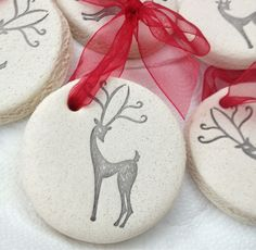 Stamped Salt Dough Ornaments ~ these would also make lovely tags for goodie baskets