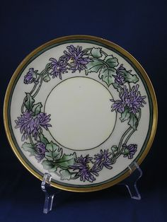 "Haviland Limoges Arts & Crafts Purple Mum Design Plate (Signed ""Lilla Alexander""/c.1894-1931)"