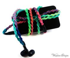 iPhone Headphones Tangle Free Earbuds Hippie by WraptureDesigns