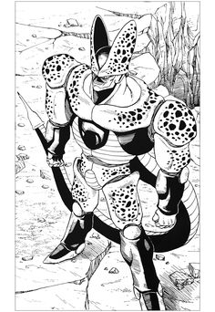 A Black & White drawing inspired by the character of Cell, in Dragon Ball Z, From the gallery : Mangas #manga #coloringpages #adultcoloring