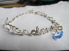 Silver wire wrapped Grandma name bracelet with adjustable chain by Naomirabinowitz, $20.00