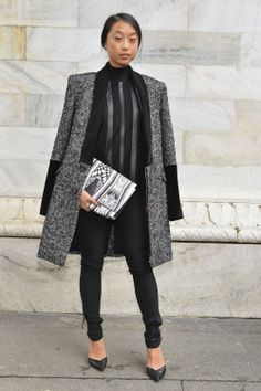 Margaret Zhang from shinebythree.com in Roberto Cavalli at the Just Cavalli FW 14-15 fashion show