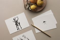 Arctic Greetings card set introduces six charming creatures from the northern wilderness: Bear, Siberian Jay, Mosquito, Reindeer, Willow Grouse and Wolverine. sized postcards are printed in Finland on 300 g uncoated FSC certified off-white paper. Plywood Art, Black White Art, Animals Images, Sustainable Design, Paper Cards, Scandinavian Design, Arctic, Reindeer, Greeting Cards