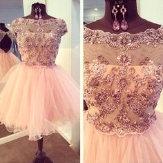 2015 Stunning vintage round neck sliver rhinestone mini unique tulle prom dress, ball gown, evening dress, bridesmaid dress short #promdress #wedding