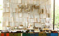 Wedding Backdrops Trends 2014 Library Wedding, Wedding Book, Wedding Signs, Wedding Bells, Paper Backdrop, Backdrop Ideas, Booth Ideas, Photo Backdrops, Before Wedding