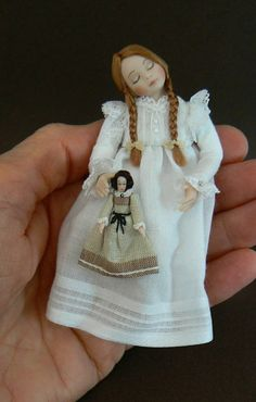 1:12 Scale Sleepy Dollhouse Little Girl Doll With Her China Doll by Debbie Dixon-Paver
