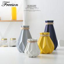 Europe Brief Matt Diamond Porcelain Vase Modern Fashion Ceramic Flower Vase Room Study Hallway Home Wedding Decoration(China)