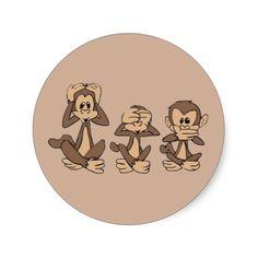 Hear No Evil, See No Evil, Speak No Evil Monkeys Classic Round Sticker