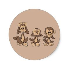 Hear No Evil, See No Evil, Speak No Evil Monkeys Classic Round Sticker