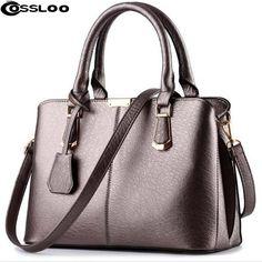 COSSLOO Designer HandbagsSolid Women Leather Shoulder Bags Classic Ladies  Casual Tote Bag luxury handbags women bags df0b76c244907
