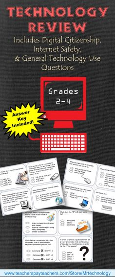 Assess students in digital computer knowledge This packet can be used as a pretest at the start of the school year, or at the end of the school year for an overview / review test. The packet can also be cut out and laminated for individual task cards for a technology center. This 18-page Common Core-Aligned packet includes: • Digital Citizenship Questions • Basic Computer Use Questions • Internet Safety Questions Answer key included.