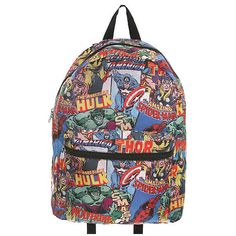 Marvel Universe Heroes Backpack | Hot Topic (39 ARS) ❤ liked on Polyvore featuring bags, backpacks, accessories, marvel, backpack bag, rucksack bag and knapsack bags