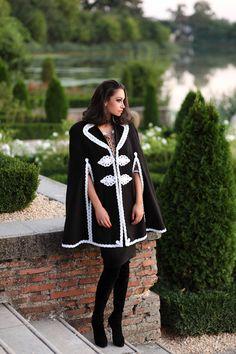 Capa romaneasca din stofa neagra cu alb - Armonie Cape, Womens Fashion, Clothes, Mantle, Outfits, Cabo, Clothing, Kleding, Women's Fashion