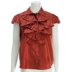 Oscar de la Renta Red Silk Ruffled Short Sleeve Top - $149.99