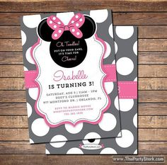 Minnie Mouse Birthday Invitations | Printable Girls Party Invitation | Grey Pink Black Polka Dots | See our Shop for Minnie Decorations