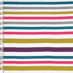 Isabel Stripe Mallard Willow Cotton Jersey Blend Knit Fabric ***beach dress***