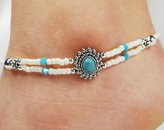 Anklet Ankle Bracelet Turquoise Anklet by ABeadApartJewelry