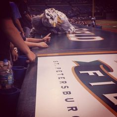 Raymond getting tired during last nights 15 inning game vs. the Marlins. The dugout made for a great bed!