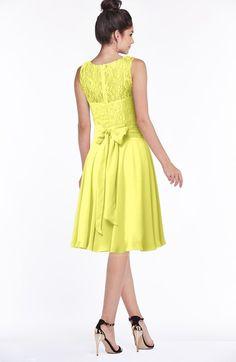 92ffb6a820fe1 Glamorous A-line Scoop Zip up Chiffon Sash Bridesmaid Dresses Gold  Bridesmaids, Pale Yellow