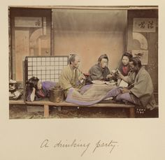 A Drinking Party; Shinichi Suzuki (Japanese, 1835 - 1919); Japan; about 1873 - 1883; Hand-colored albumen silver print; 12.7 x 16.9 cm (5 x 6 5/8 in.); 84.XA.765.8.92; J. Paul Getty Museum, Los Angeles, California
