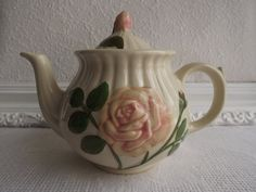 Vintage Shawnee Cabbage Rose Five Cup Tea Pot Circa 1940's