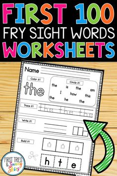 , Fry Sight Words Worksheet Practice - The First 100 Words , Fry Sight Words Worksheets - This bundle includes 100 printable sight word worksheets which help students to learn their sight words. This practice fo. Fry Sight Words, Learning Sight Words, Sight Words List, Sight Word Practice, Sight Word Games, Sight Word Activities, Learning Time, Early Learning, Kindergarten Learning