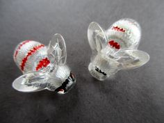 PAIR OF TINY VINTAGE GLASS BUTTONS BUMBLE BEES noelhumphrey on eBay.co.uk