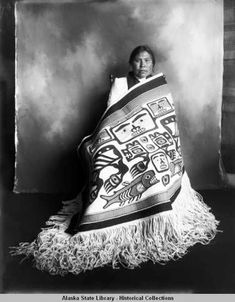 Mary Willard of Klukwan. Formal, full-length studio portrait of a woman wrapped in a Chilkat robe. Native American Pictures, Native American Beauty, American Indian Art, Native American History, Native American Indians, American Symbols, Native Indian, Native Art, Arte Haida