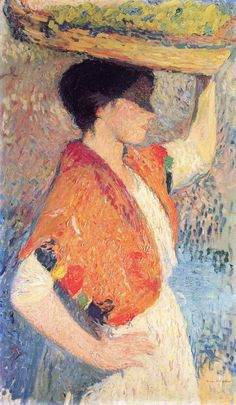 The Athenaeum - Woman with a Basket (Henri Martin) Toulouse, French Impressionist Painters, Post Impressionism, Pointillism, Antique Books, French Artists, Basket, Fine Art, Woman
