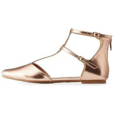 Charlotte Russe Metallic T-Strap D'Orsay Flats ($18) ❤ liked on Polyvore featuring shoes, flats, rose gold, flat d orsay shoes, cushioned flats, d'orsay flats, flat shoes and pointed toe flat shoes